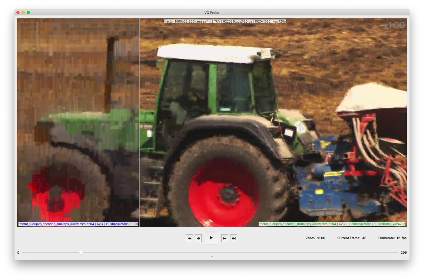 VQ Probe shows 2 tractor movies encoded with different bitrates