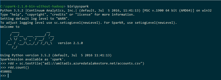 Connecting your own Hadoop or Spark to Azure Data Lake Store