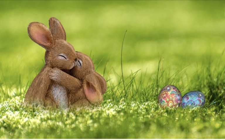 Two cute bunnies hugging and two foil wrapped Easter eggs