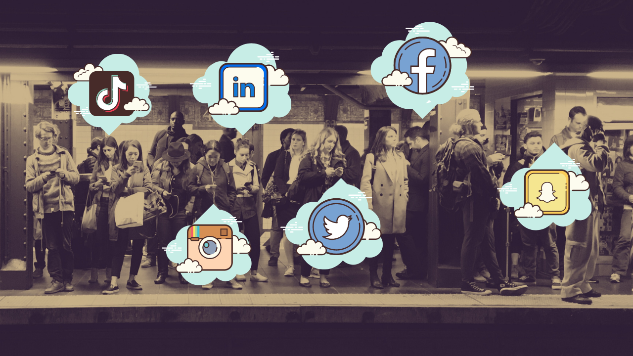 Commuters standing on subway platform surrounded by various social media platform logos