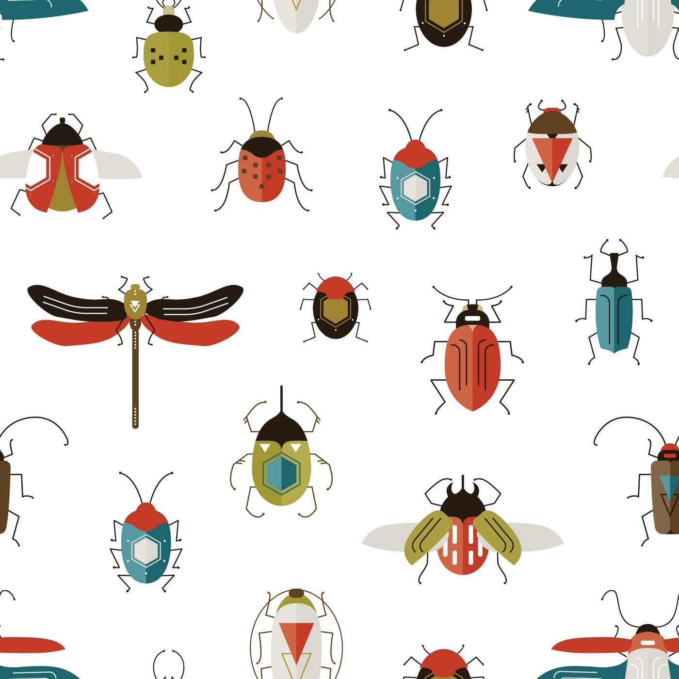 Various species of illustrated bugs.
