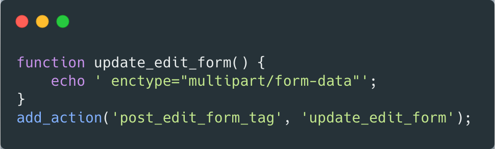 A snippet of code which shows changing the form submit type—full copyable code at the end of the article