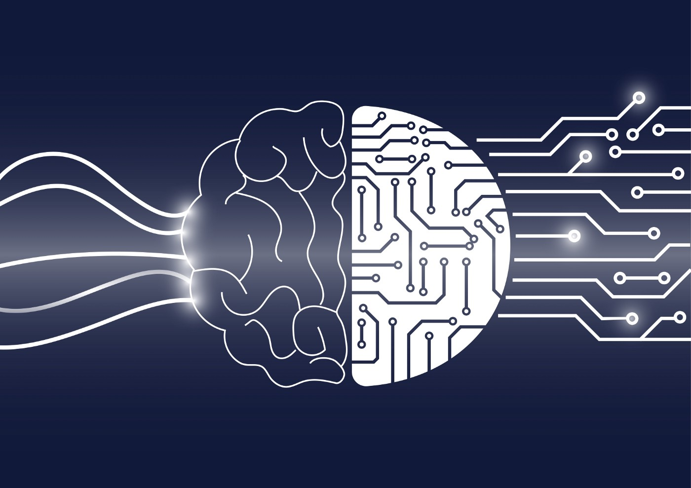 A drawing of a brain that is being converted into a circuit board