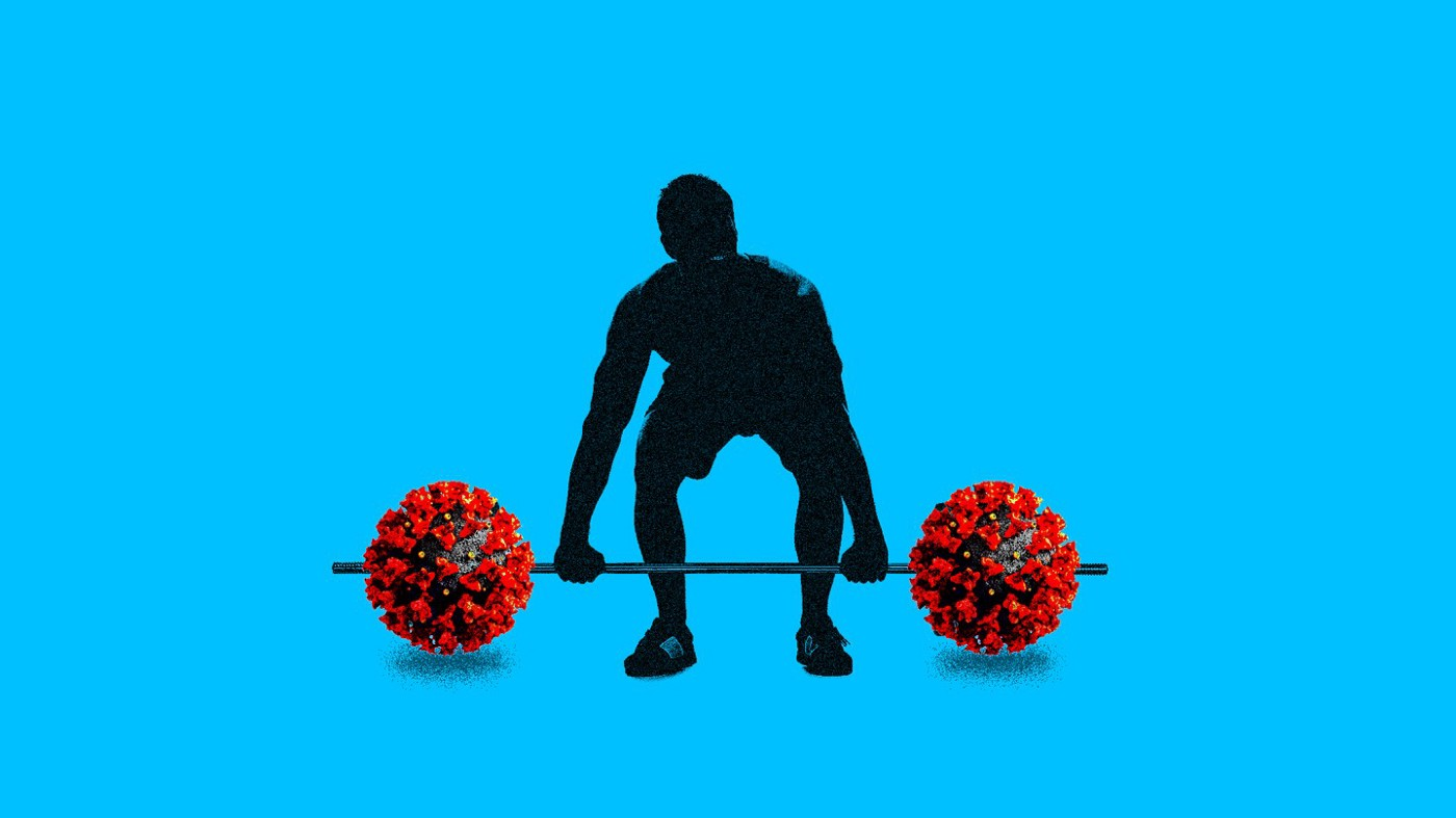 Silhouetted person lifting weights that have coronavirus molecules on the ends rather than weights.