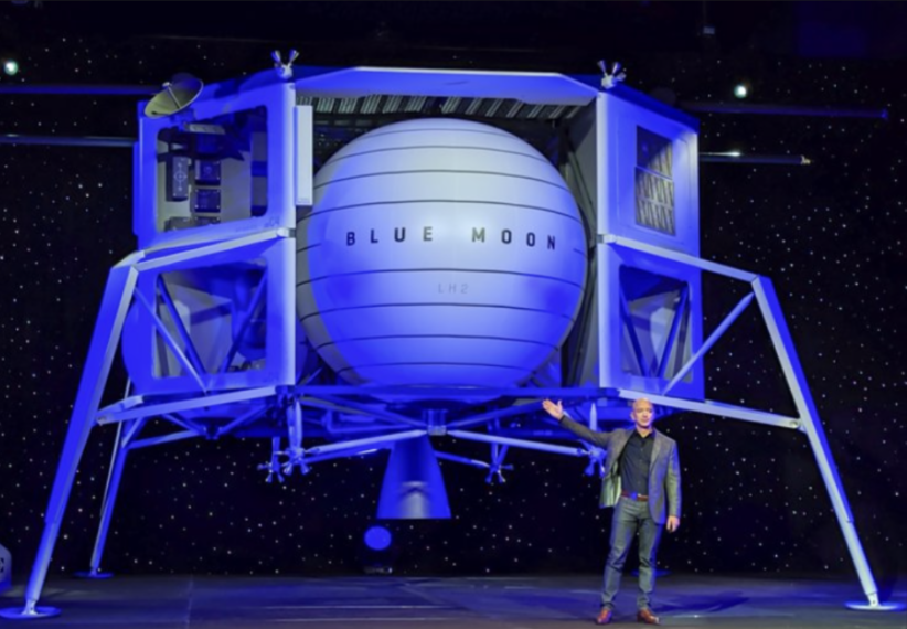 Blue Moon, lunar lander replica, at the Washington Convention Center, with Jeff Bezos standing in front of it