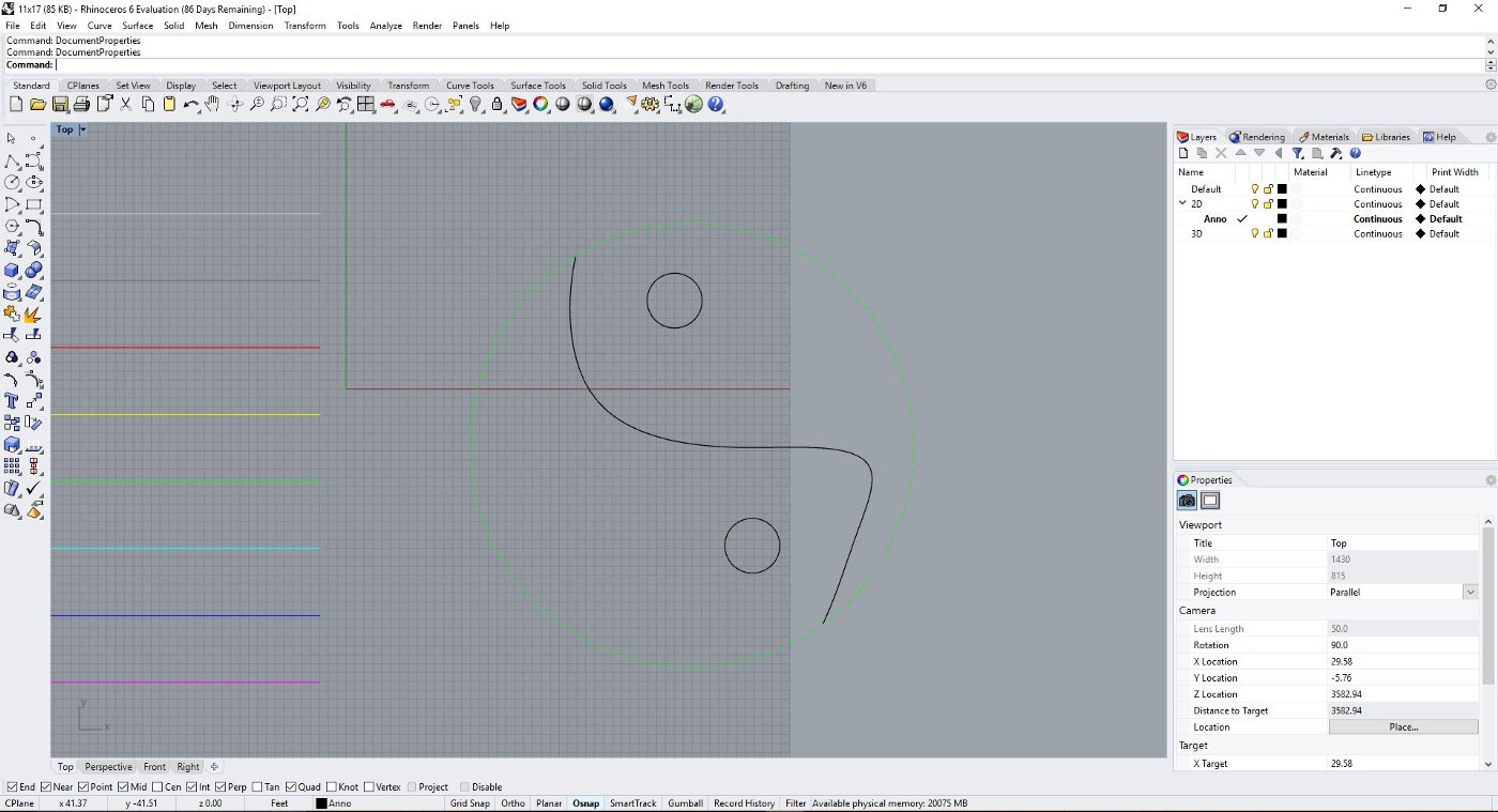 Rhino Tutorial: Setting Line Weights, Line Types, Hatches, and