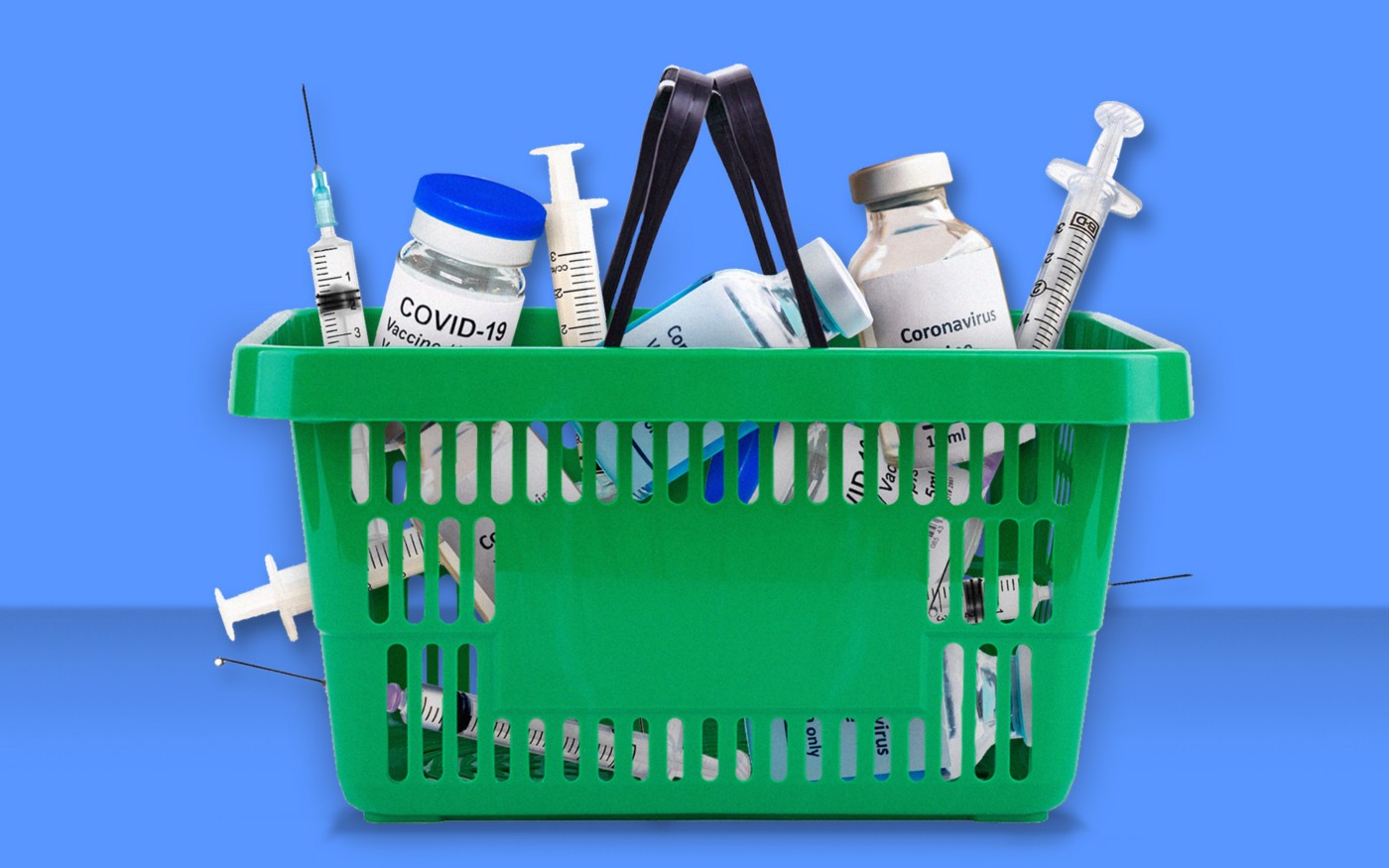 A photo illustration featuring a shopping basket filled with vials of Covid-19 vaccines and shots.