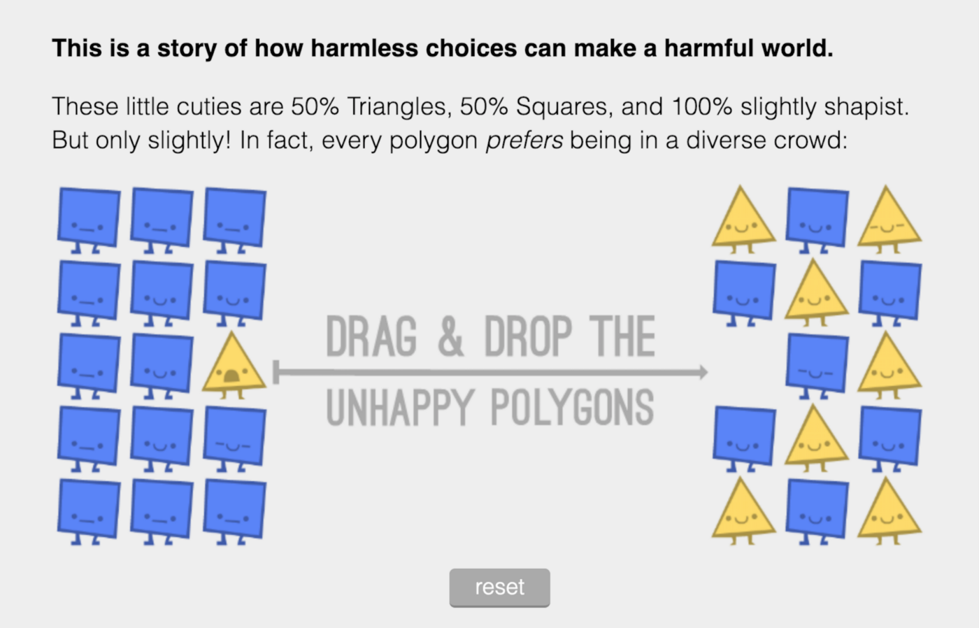 """Screenshot from """"Parable of the Polygons: A Playable Post on the Shape of Society"""""""