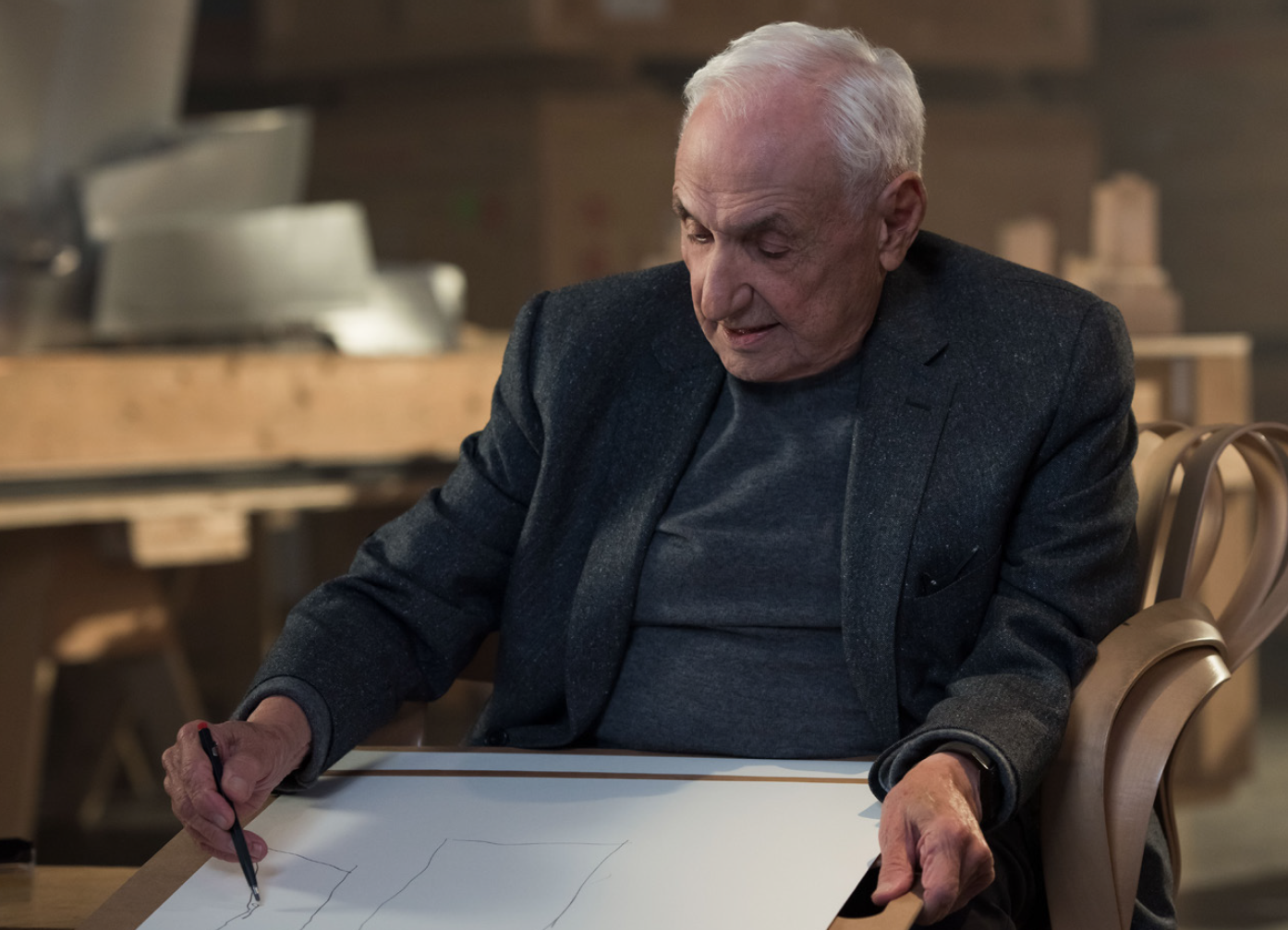 Frank Gehry sketching