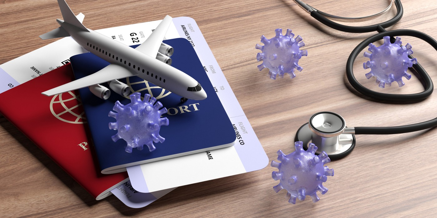 Flu coronavirus pandemic virus infection, travel and health concept. Medical stethoscope and travel documents on wood background. 3d illustration