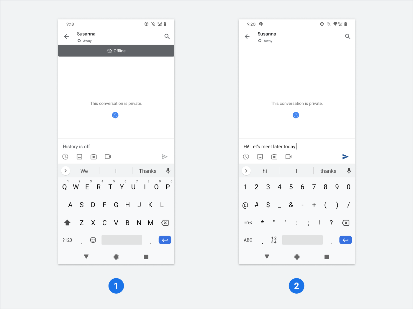 Chat app with conversation screen, area to type and keyboard