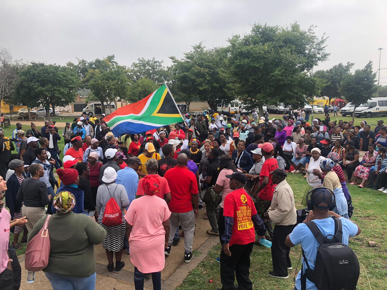 Community members gather in Soweto to plan the mass marches. Photo credit: Lebohang Phanyeko