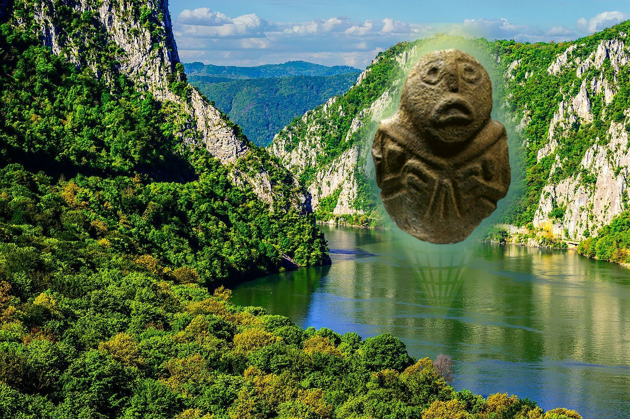 Djerdap lake on the river Danube with a prehistoric sculpture of Progenitrix from the Lepenski Vir culture