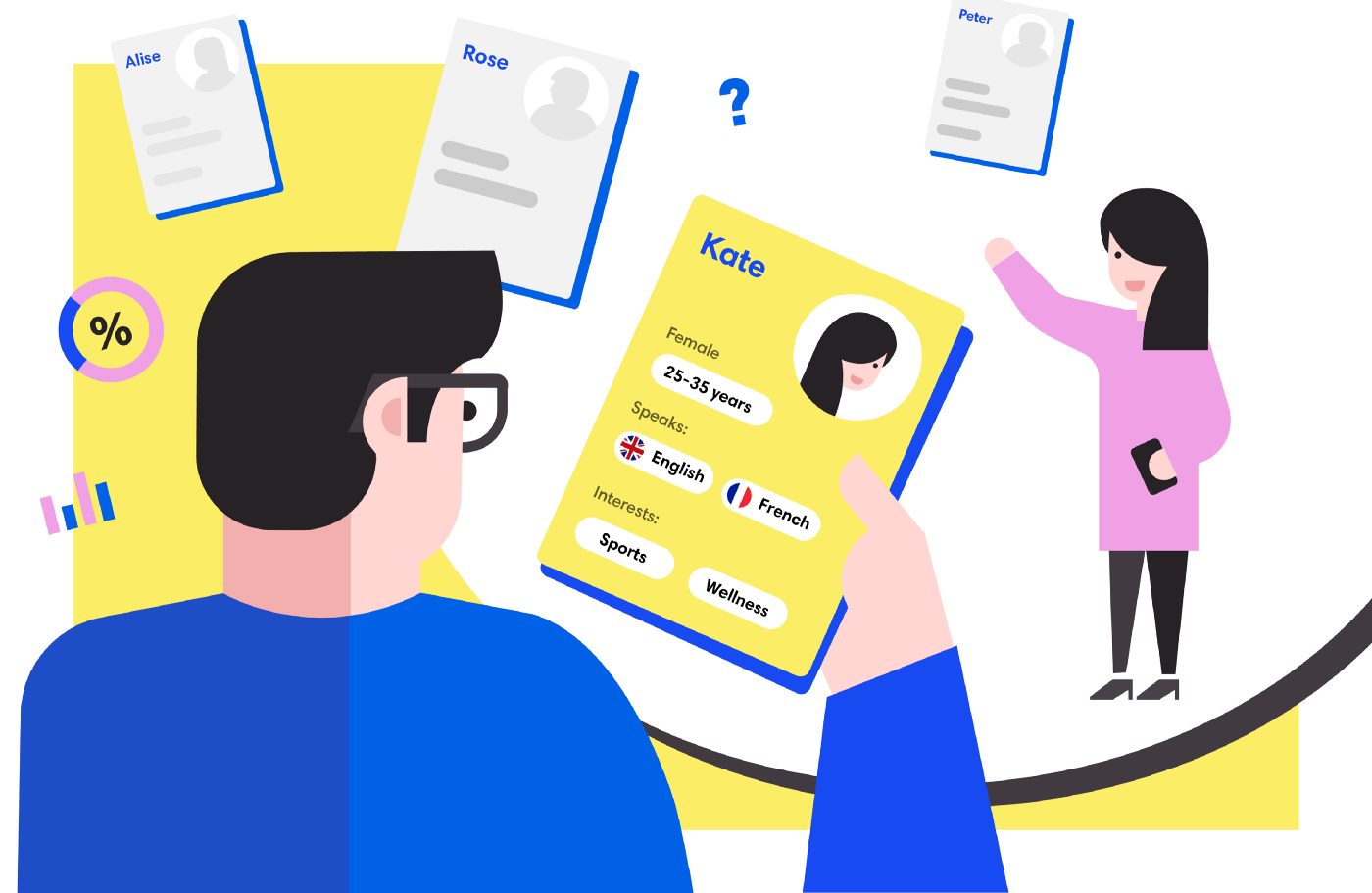 Image of an illustration of a UX designer working on a persona