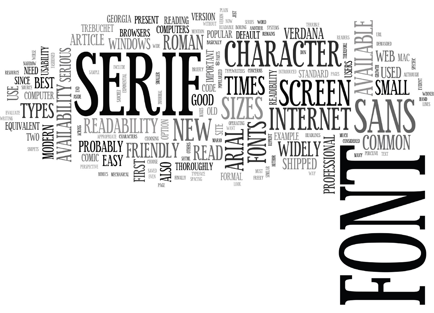 A collage of various word relating to fonts and typing (font, Serif, Verdana, Size, Text, Arial, Characters, etc.)