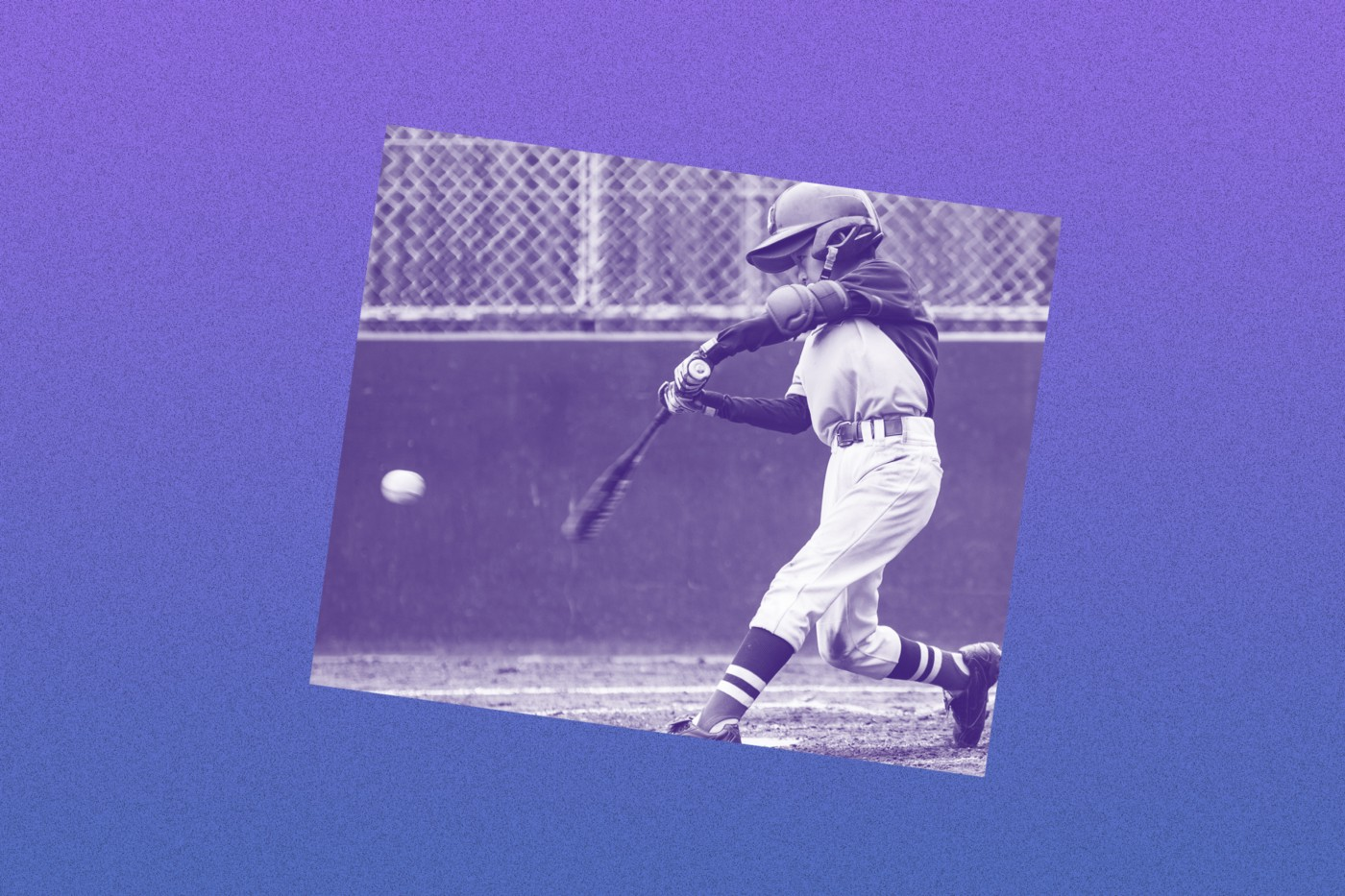 Filtered image of a young kid hitting a baseball with a bat.