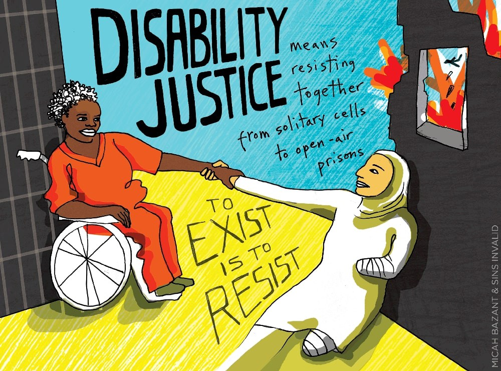 Disability justice art from Sins Invalid and Micah Bazant. It depicts a disabled black and non black POC holding hands.