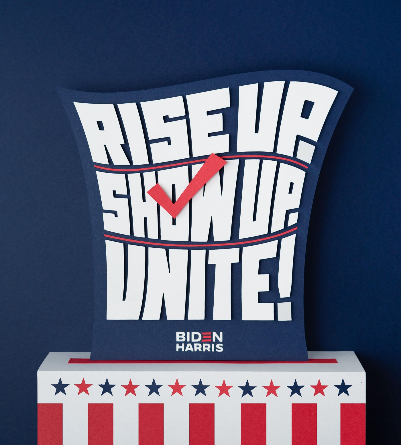 Lettering art of the phrase 'Rise up. Show up. Unite!' by Adé Hogue