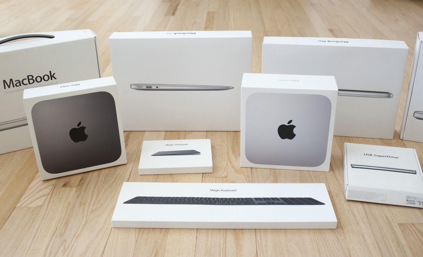 A variety of retail packaging for Mac hardware