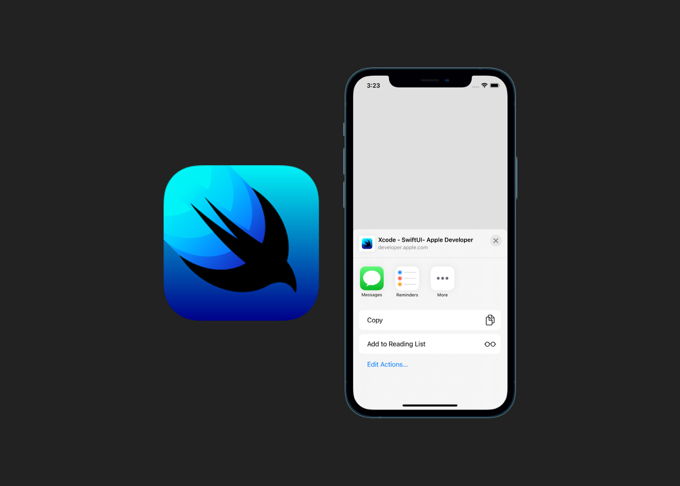 SwiftUI logo with an iPhone presenting a share sheet