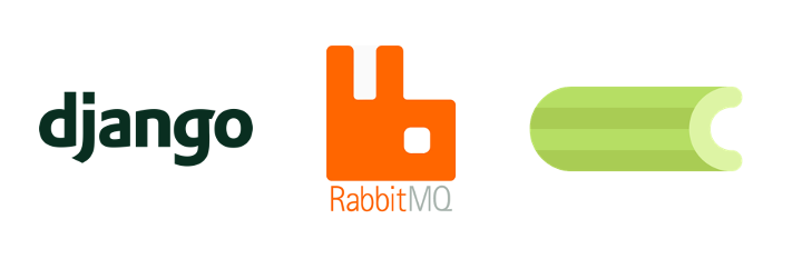 Django, RabbitMQ, and Celery logos