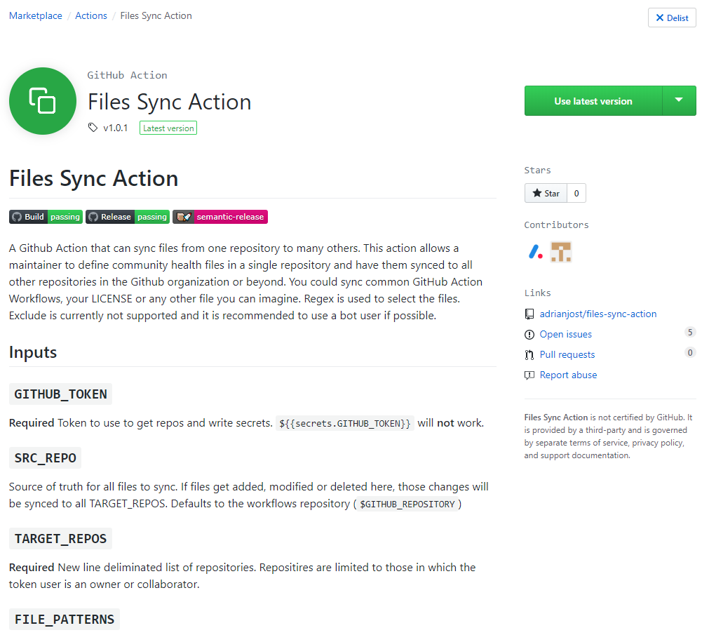 "Screenshot of ""Files Sync Action"" Marketplace Entry"