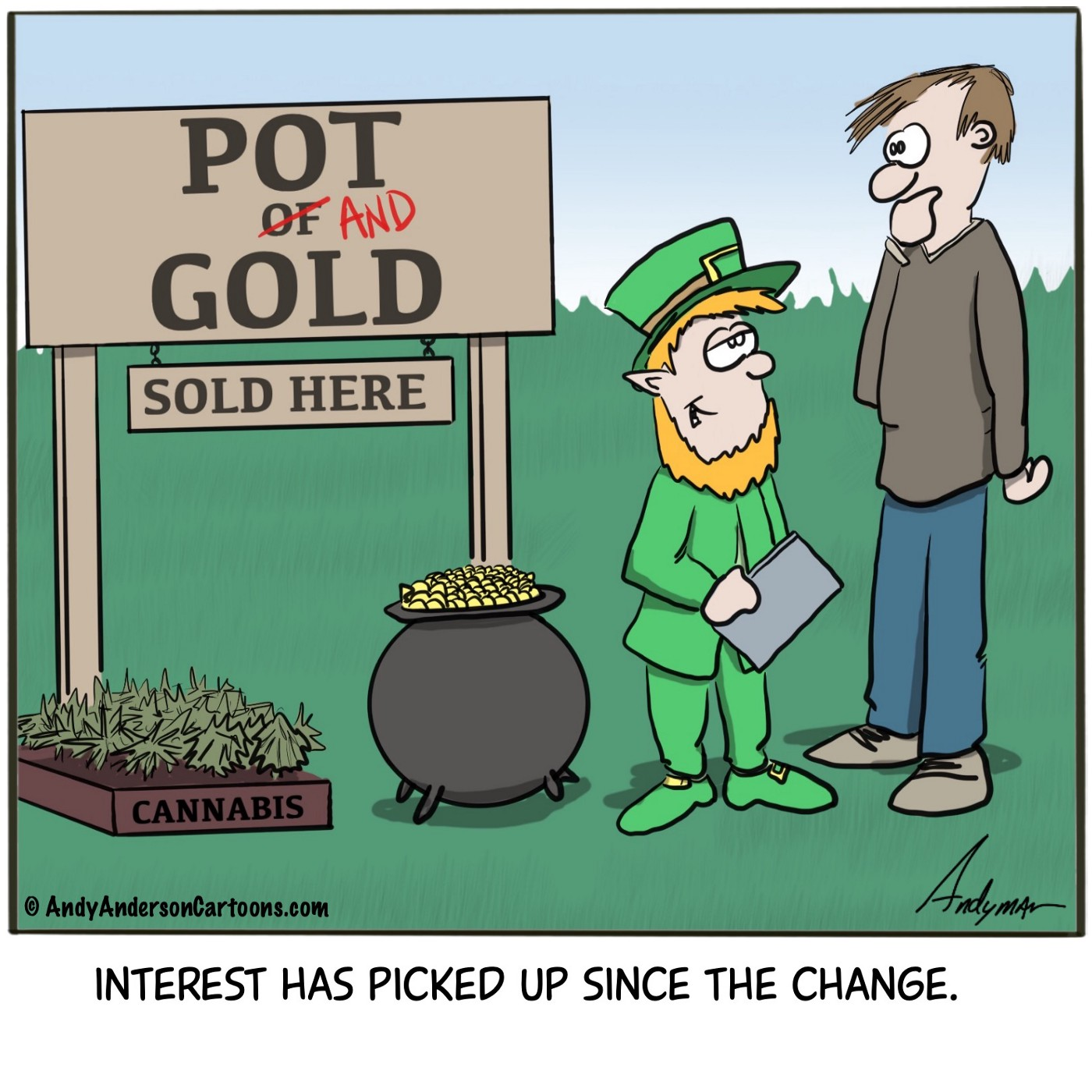 Cartoon about pot and gold instead of pot of gold by Andy Anderson