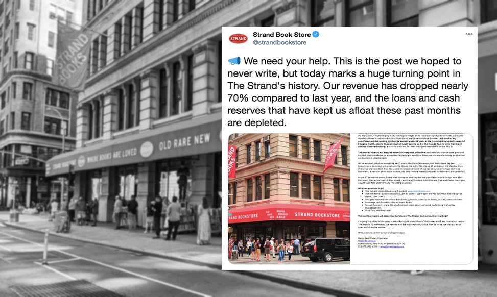 Strand's tweet with the letter pleading for help, on top of a B&W photo of the Strand with a line stretching out the door.