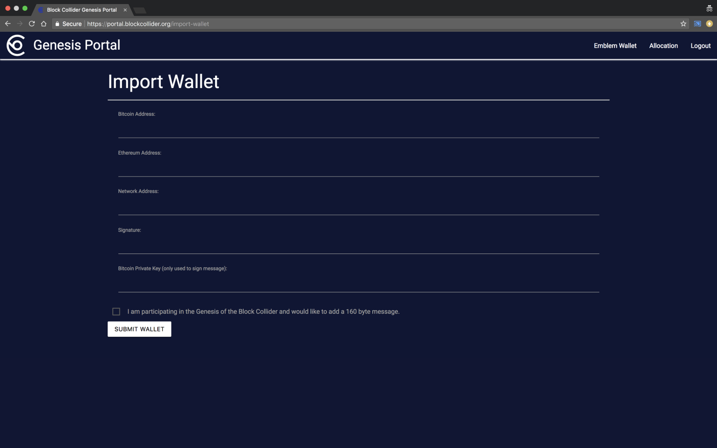 Creating a wallet and contributing in the Block Collider Genesis Event
