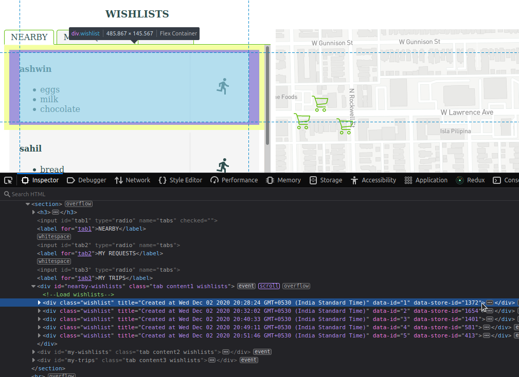 Screenshot of Google Chrome Elements Inspector showing the attributes on the DOM element for a wishlist