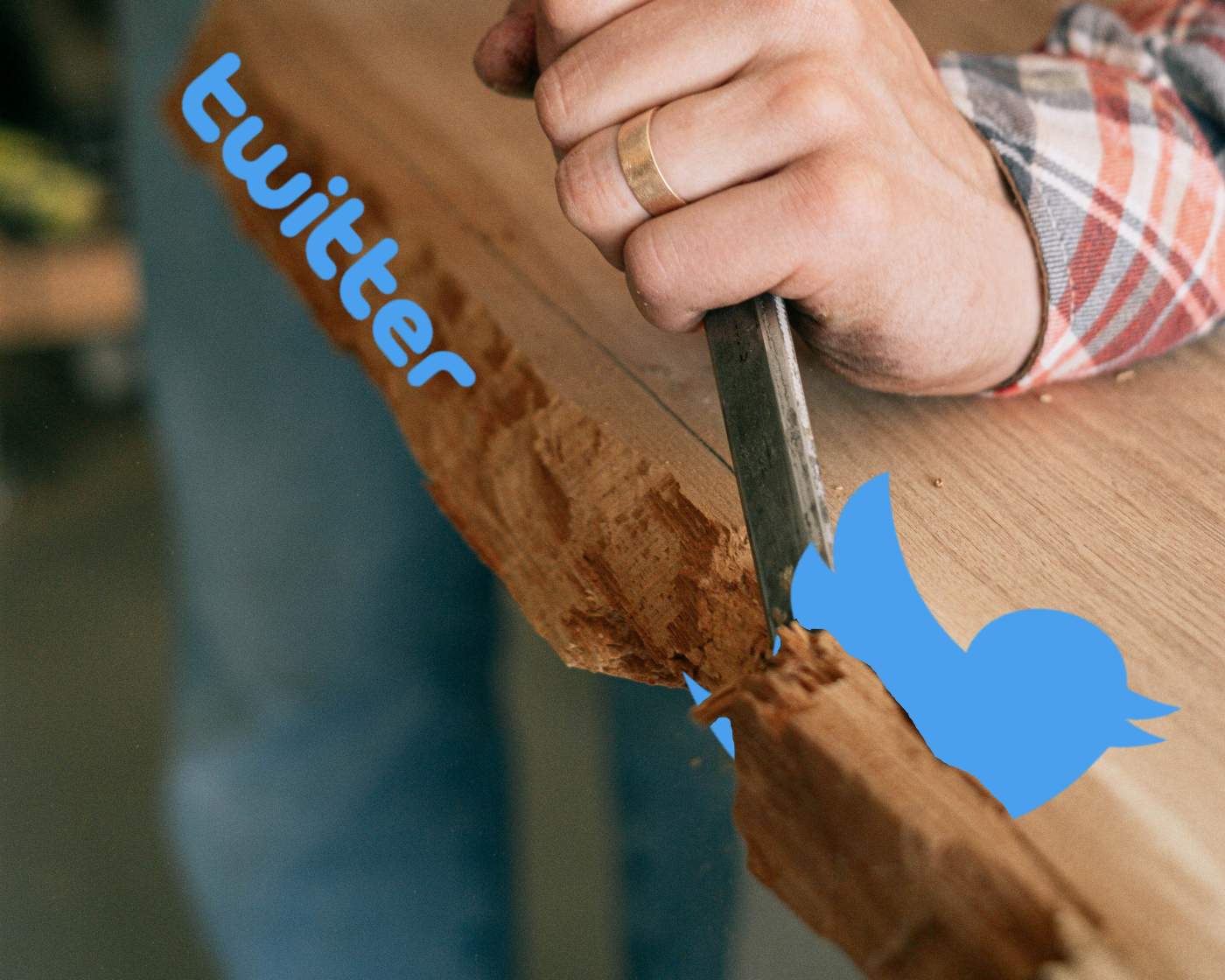 A man is using a tool to scrap away at a plank of wood. The Twitter logo bird is Photoshopped as being stuck in the wood.
