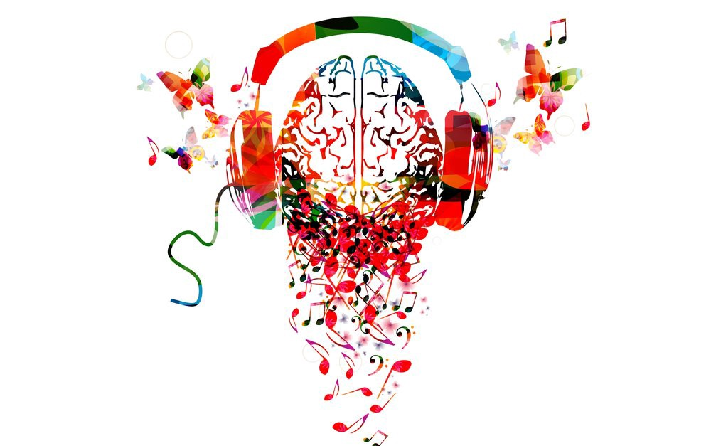 Artistic image of the brain, headphones, and musical notes.