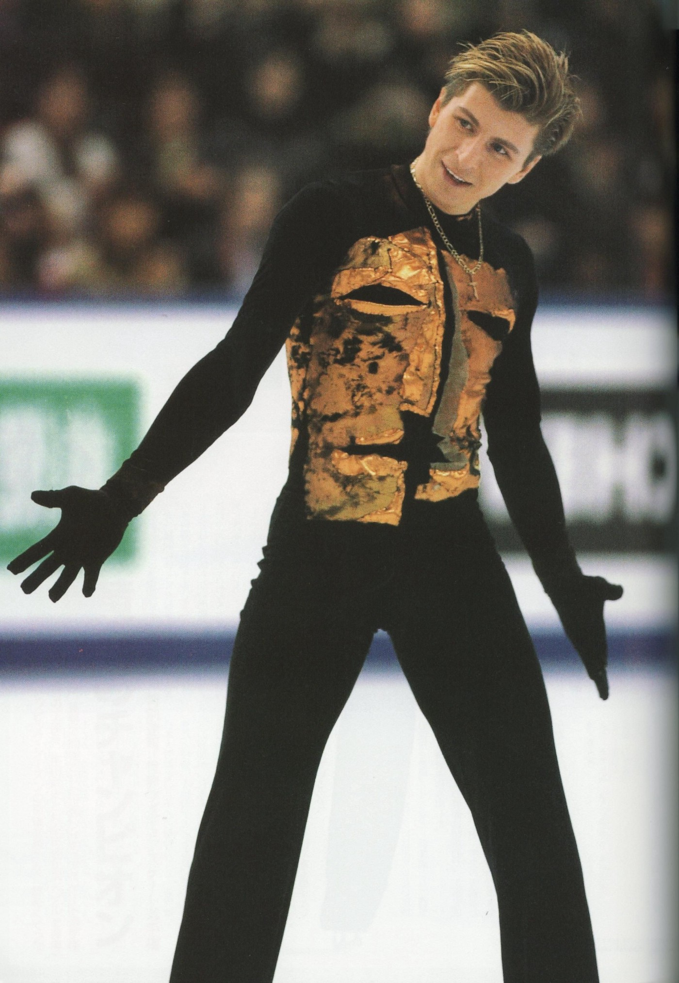 Action shot of figure skater Alexie Yagudin during his Man in the Iron Mask 2002 Olympic long program