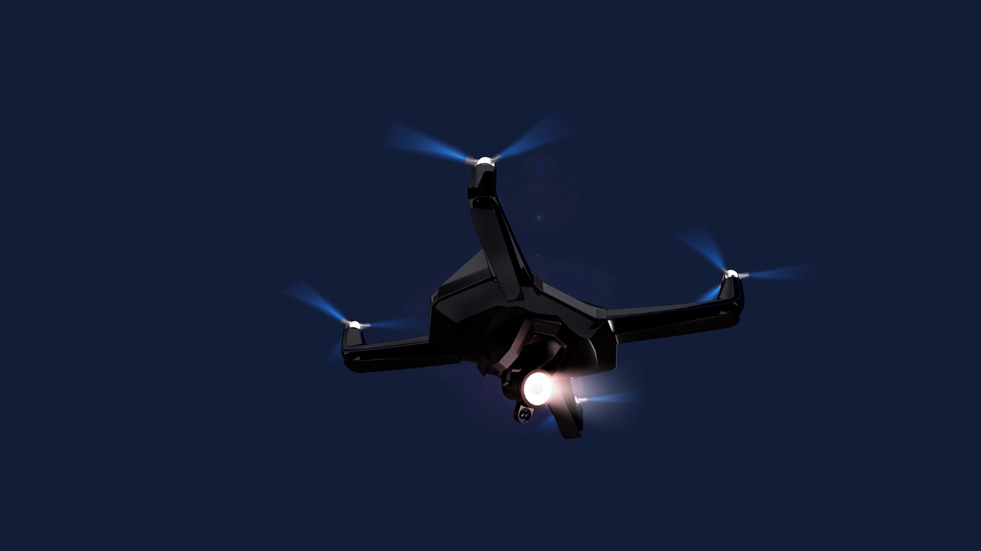 A drone flying overhead at night. The drone is equipped with lights.