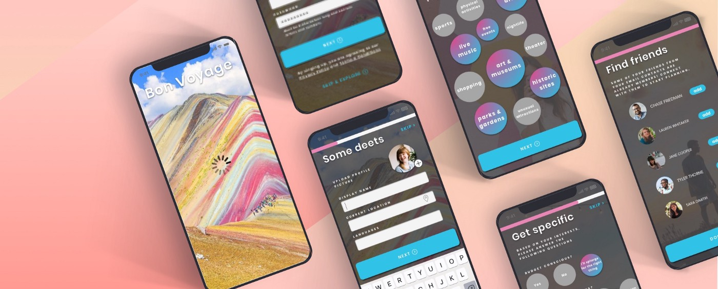 Mobile screens showing onboarding for a travel app