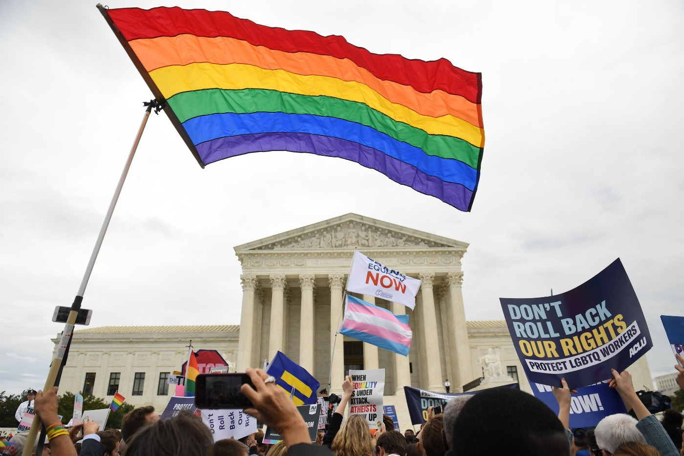 Demonstrations rally outside of the U.S. Supreme Court on October 8, 2019.