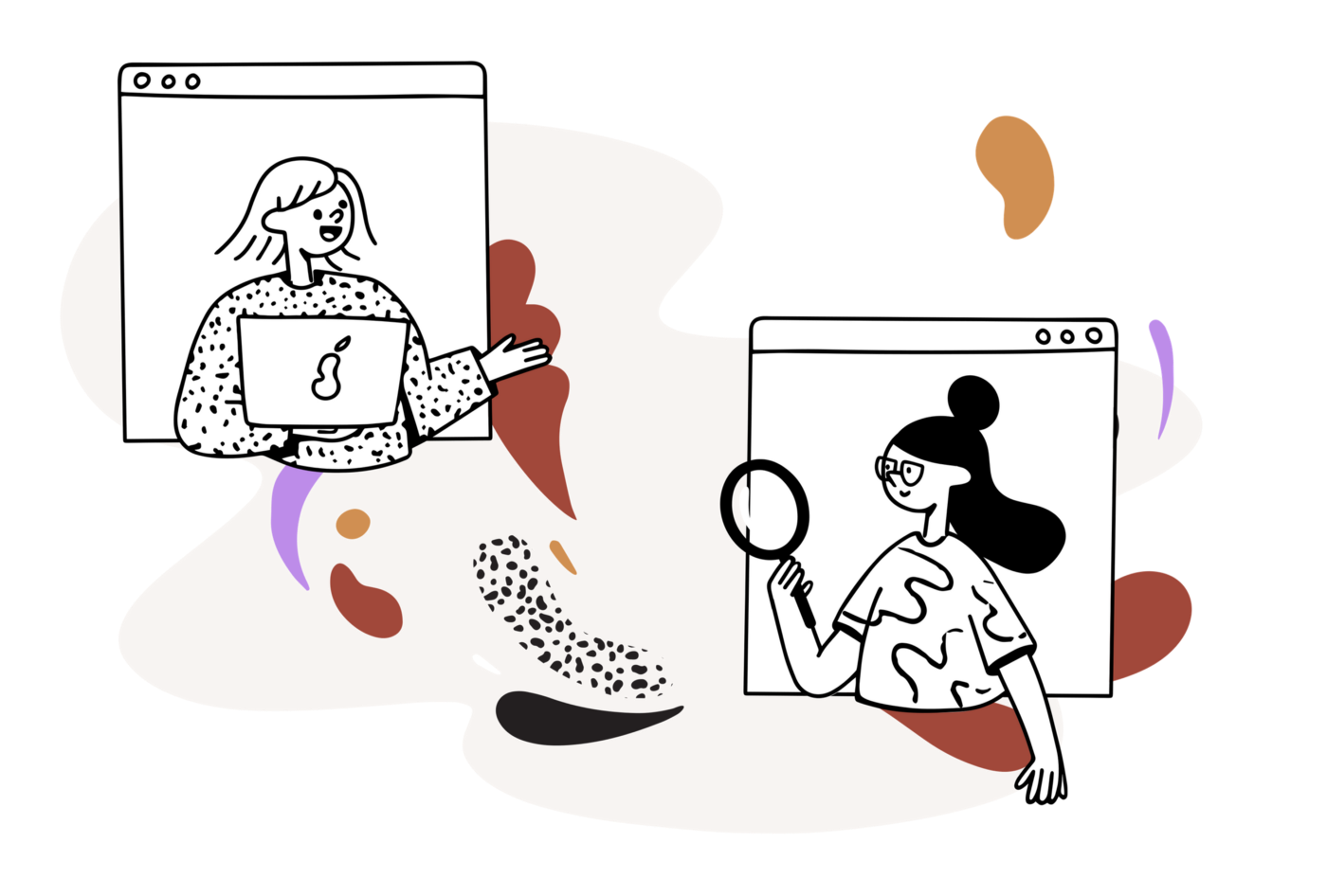 Simple illustration of two women working together remotely. One with a laptop, the other with a magnifying glass.