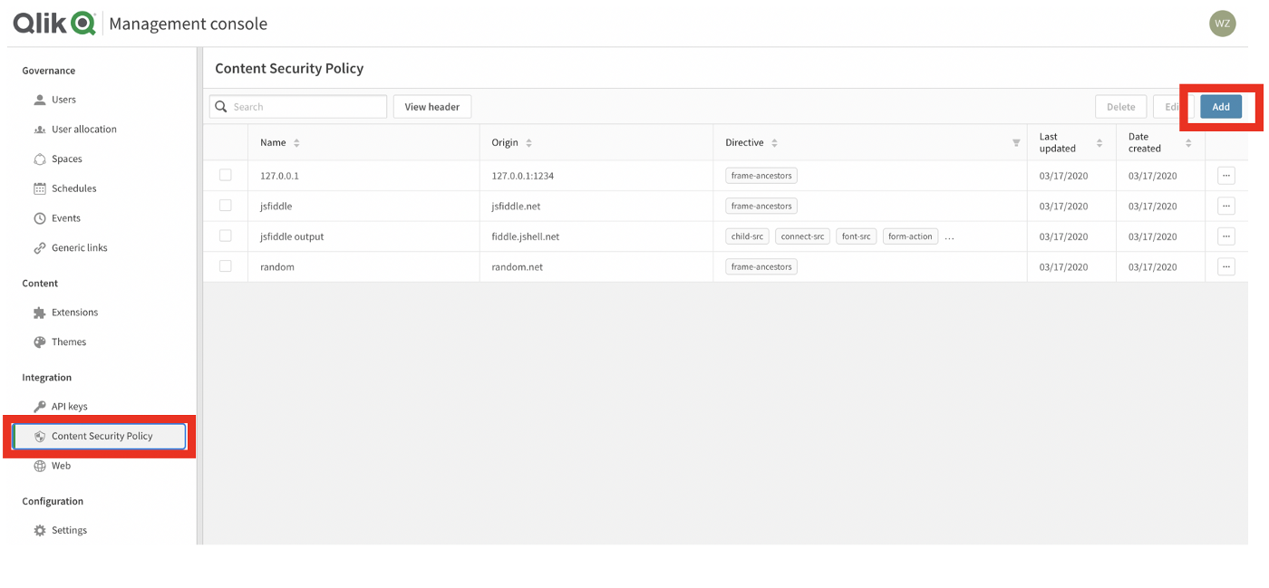 Management console with Content Security Policy menu item and Add button highlighted