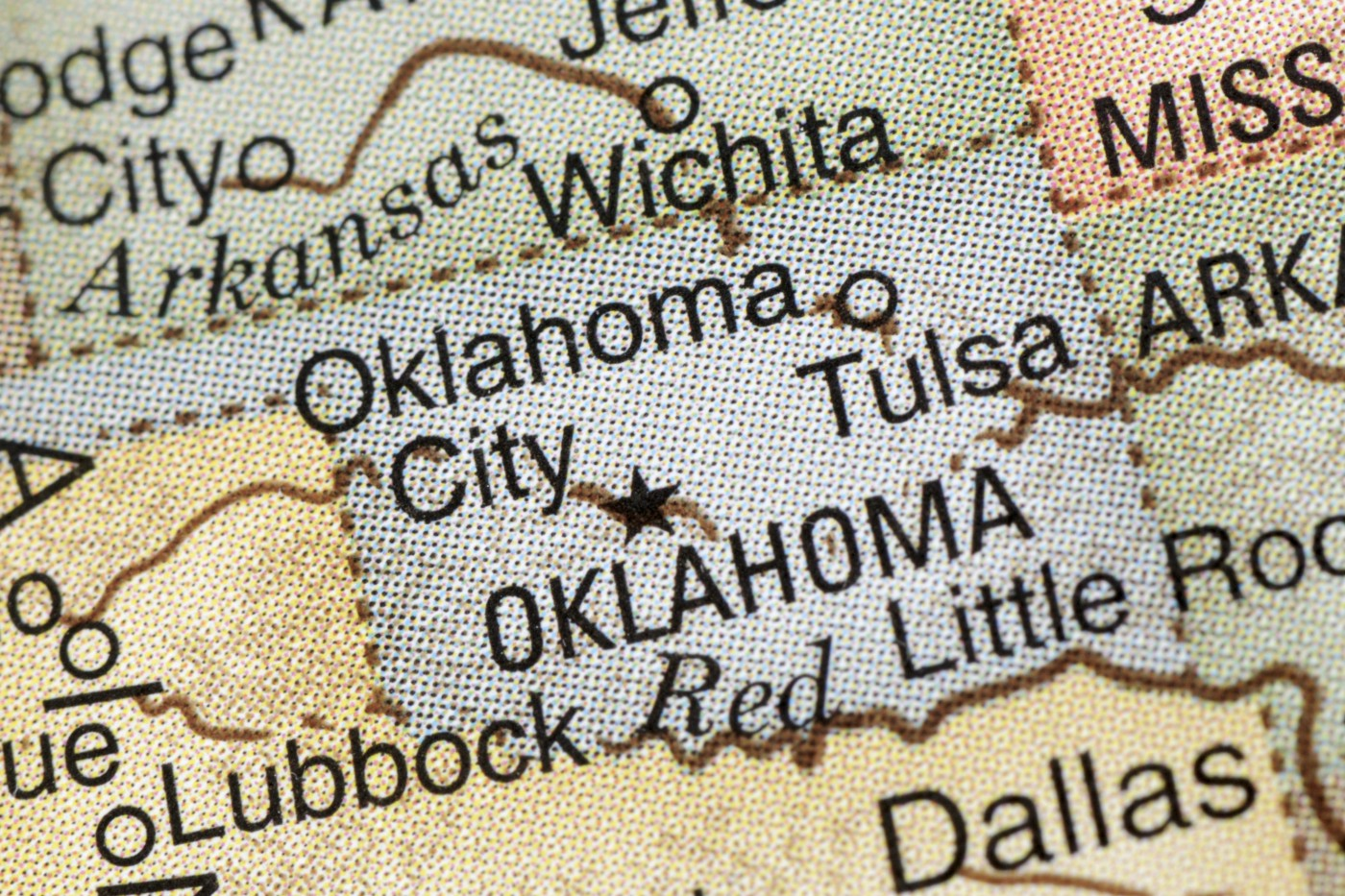 A close-up photo of Oklahoma on a map of the United States.