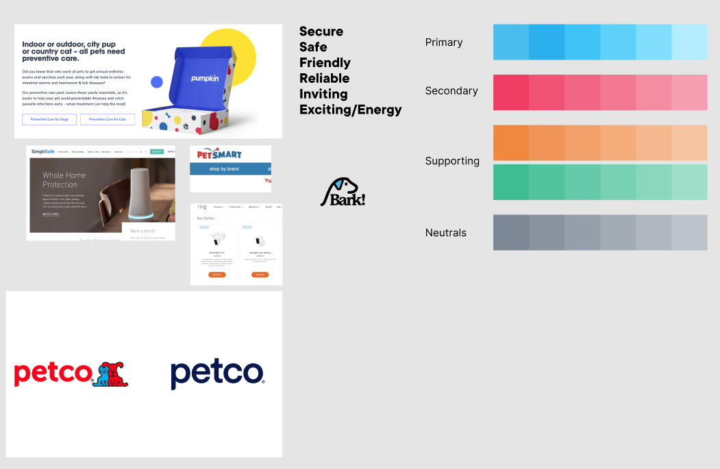 A Figma file depicting explorations around brands, colors, and the theme we were going for with our app.