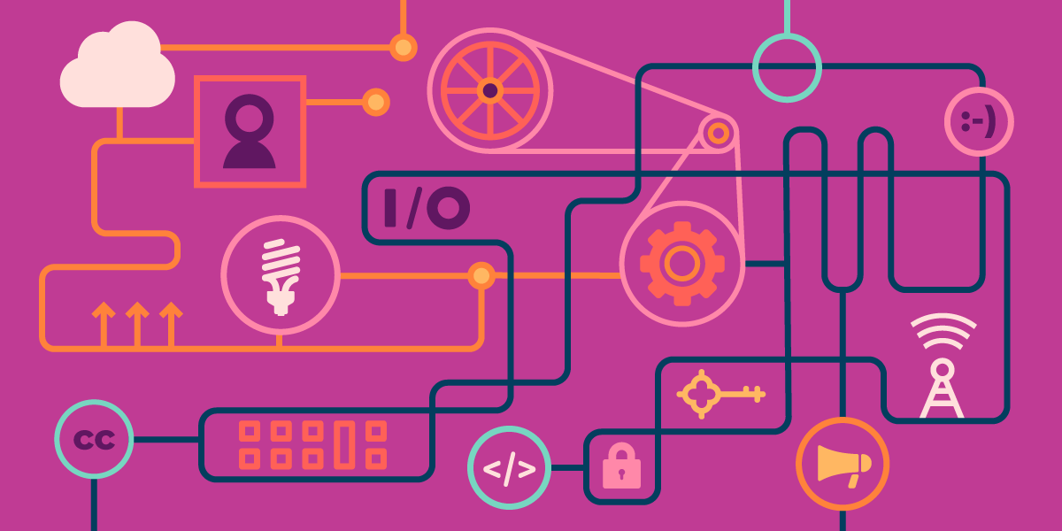 EFF's interoperability banner graphic, a kind of Rube Goldberg machine integrating pulleys, belts, megaphones, emoticons, lightbulbs, HTML tags, a Creative Commons icon, a radio tower, a padlock, etc.