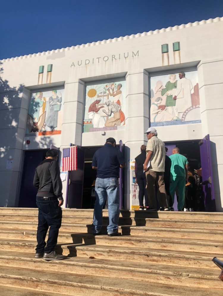 Voters line up to cast their ballots at a voting precinct in South Los Angeles.