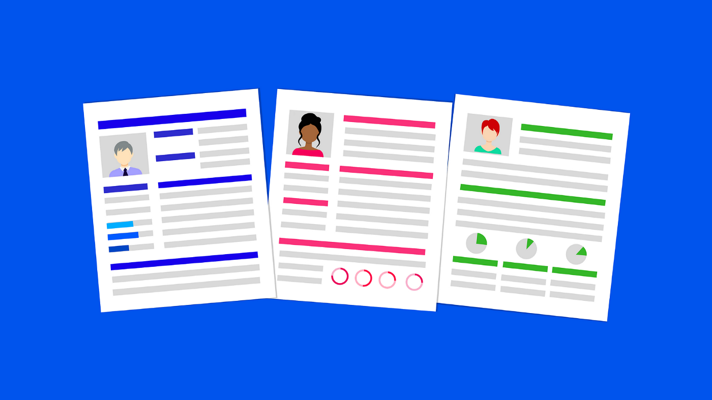 A graphic depicting block-styled resumes on a blue background.