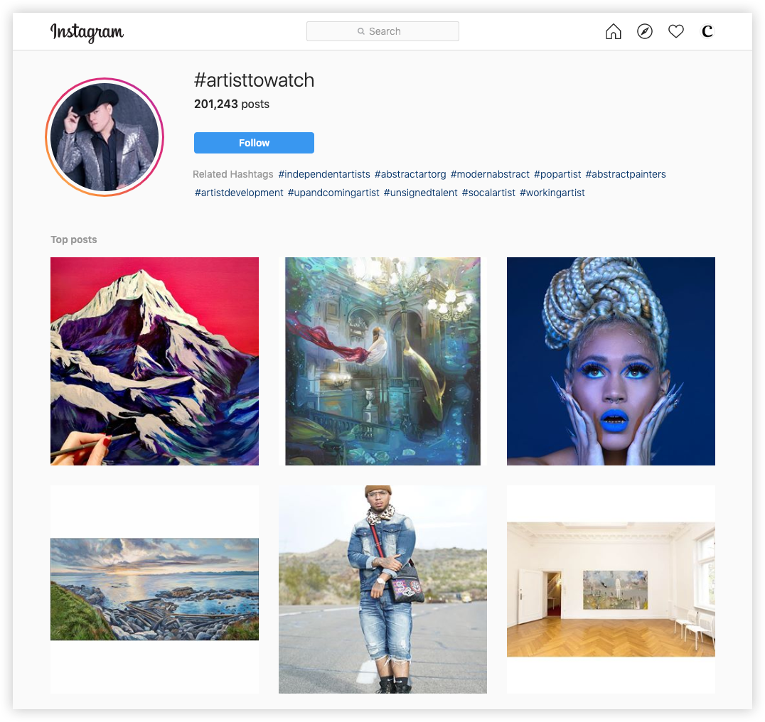 instagram hashtag page on web