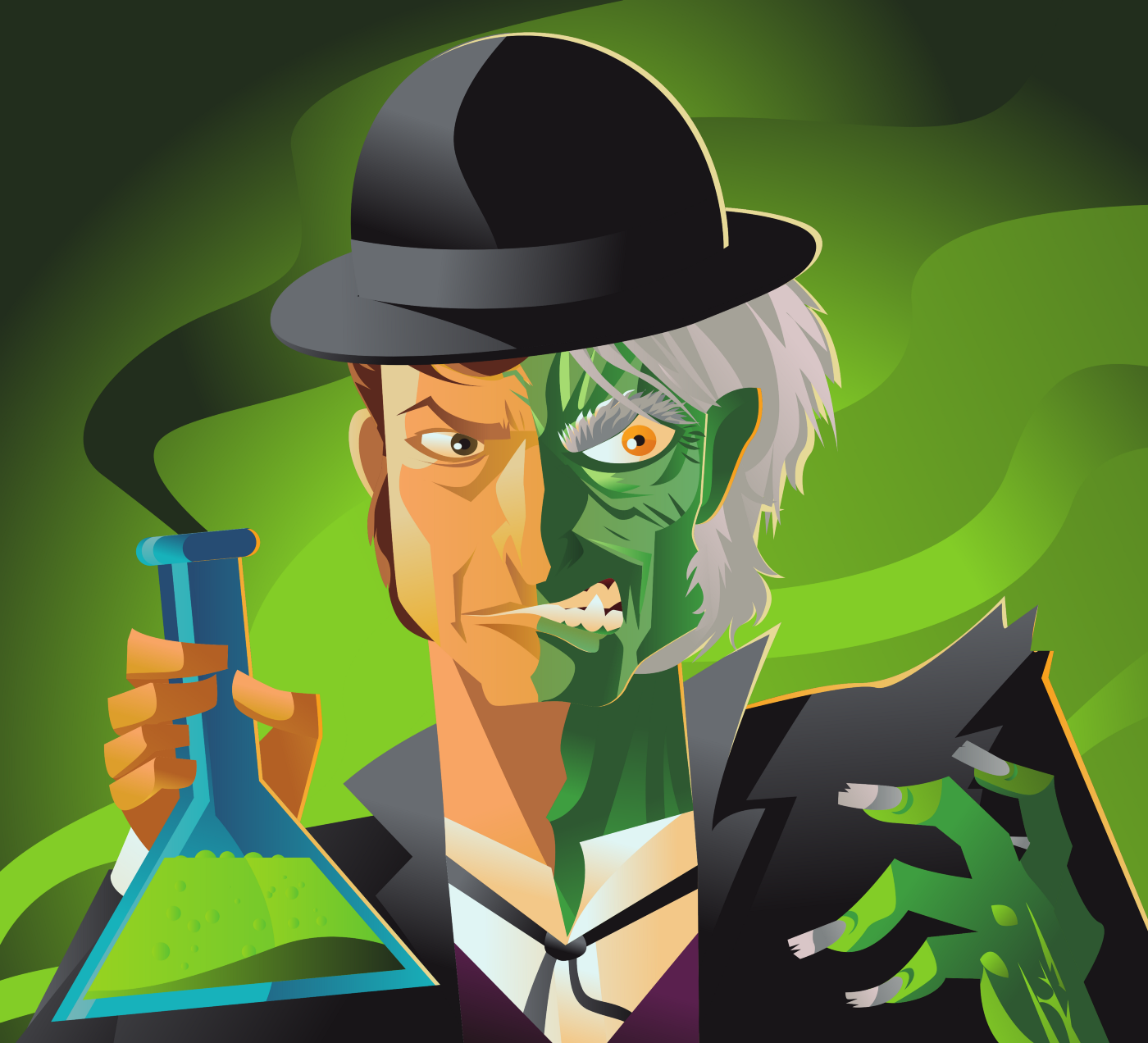 An illustration of Dr. Jekyll & Mr Hyde