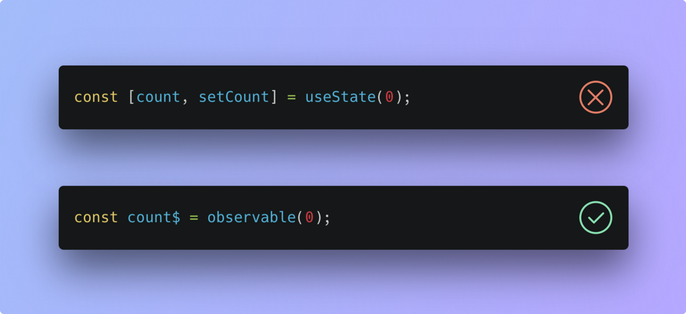 useState: incorrect. observable: correct.