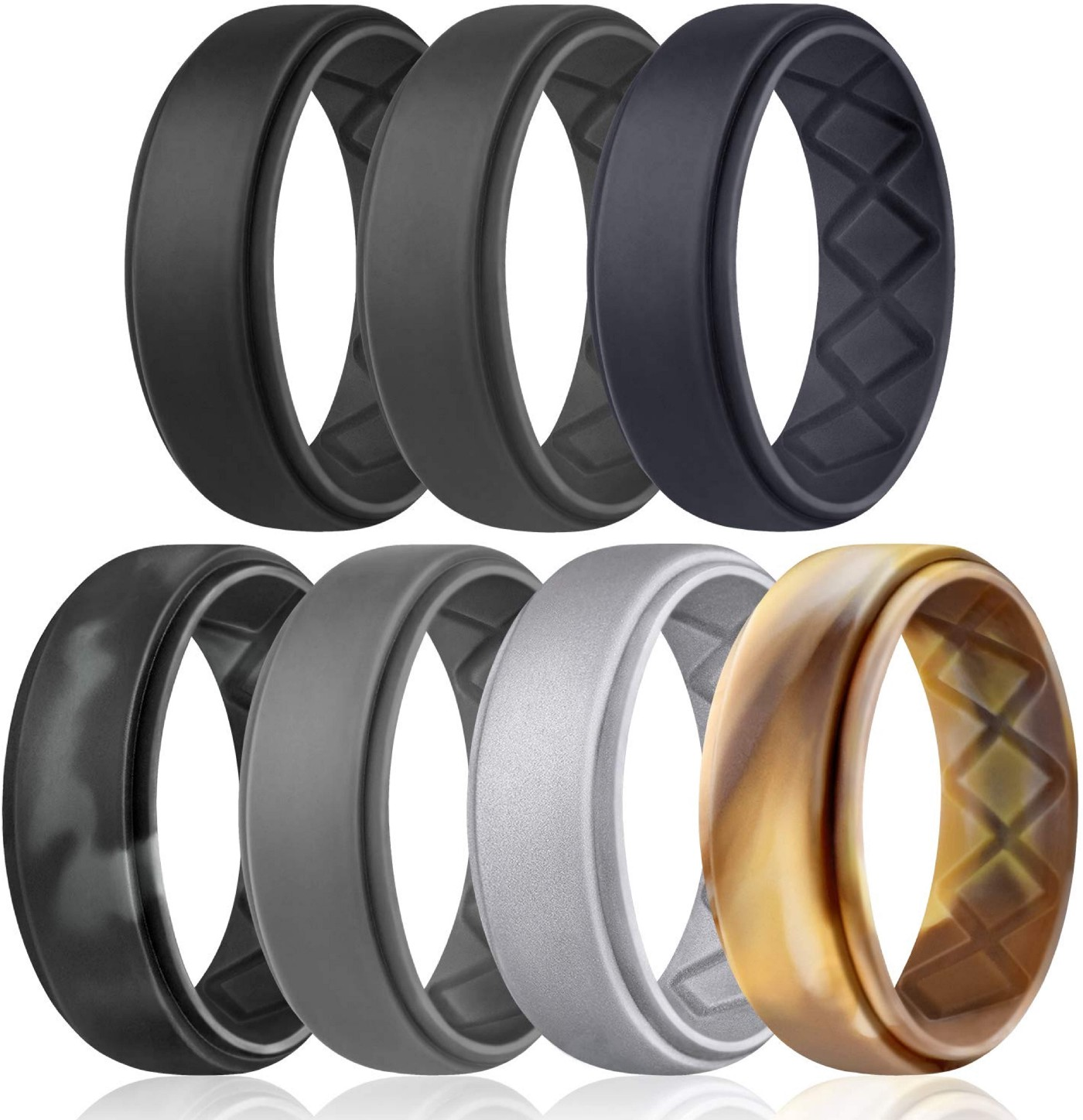 Silicone Wedding Ring for Men, Breathable Mens' Rubber Wedding Bands, Size 8 9 10 11 12 13, for Crossfit Workout