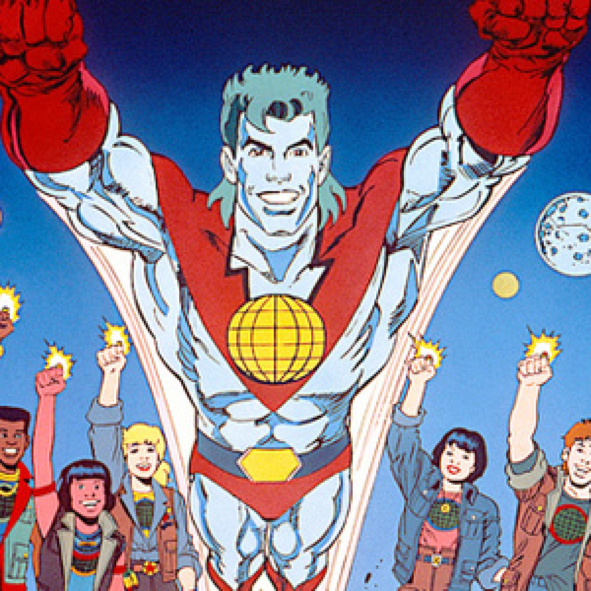 """Image from """"Captain Planet"""" of the titular hero and the Planeteers with their rings glowing"""