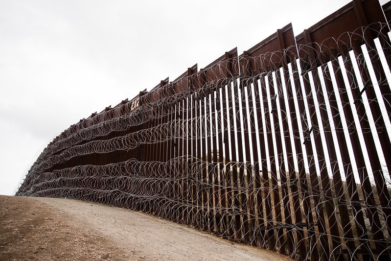 Border wall between the US and Mexico.