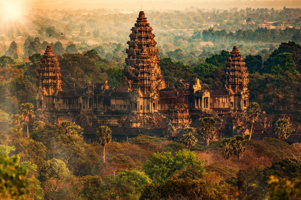 Aerial view of Ankgor Wat temple complex in Cambodia.